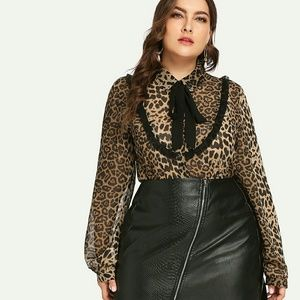 Plus Tie Neck Leopard Print Top